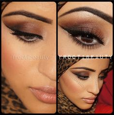 """Beautiful brown #smokeyeye by @Safiyah Khan #getthelook Tutorial for face products 1) Prime with the Perfecting Face Primer and use the Cream Foundation Quad by Loren Ridinger in Medium-Dark.  2) Set the makeup with the Photo Finish Powder in Neutral Medium  3) Use """"Flushed"""" Blush on the cheeks  4) Contour and highlight with the Shape & Sculpt duo. 5) Outline and fill lips with """"Naked"""" Lip Crayon and fill with lipstick for LaLa in Nice. #makeup #mua #face #eyes #lips"""