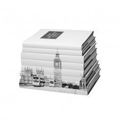 Set of eight London coffee table books wrapped with image of Westminster Abbey and the city's iconic double-decker buses // bookshelf