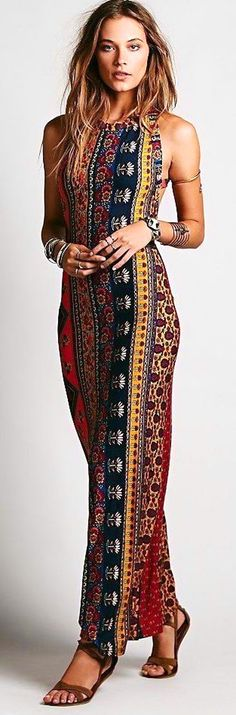 #boho #fashion #spring #outfitideas | 70s, hippie-inspired colors and patterns make this comfy maxi dress really great
