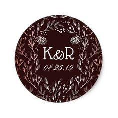 Burgundy and Blush Elegant Floral Wreath Classic Round Sticker - romantic wedding gifts wedding anniversary marriage party #romanticweddings