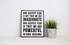 Our deepest fear Powerful beyond measure 8x10 by TheJournalCompany