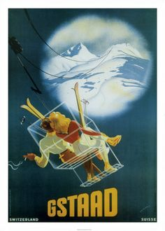 Gstaad. vintage ski poster