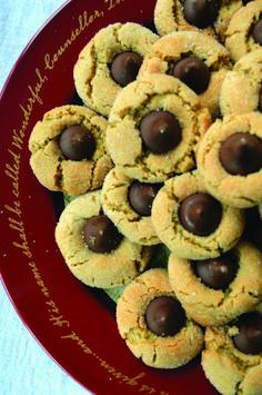 Healthier peanut butter blossoms tone it up only on this page Peanut Butter Blossom Cookies, High Altitude Baking, Kiss Cookies, Healthy Peanut Butter, Evaporated Milk, Bisquick, Tone It Up, Easy, Desserts