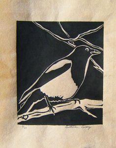 Magpie - linocut print - Katherine Grey, U.S.A.
