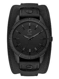 guess watch men s black leather cuff bracelet macy s black leather cuff watch at guess