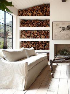 Wood storage wall