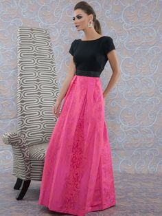 Coral/Black Color Block Gown from THEIA
