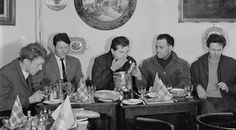Timothy Behrens, Lucien Freud, Francis Bacon, Frank Auerbach and Michael Andrews having lunch at Wheelers Restaurant in Soho, London, 1963.