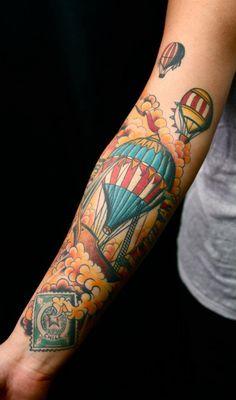 Tattoo - Arm - Air Balloon - Cloud - Color