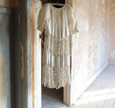 Antique Girls Dress Crochet Inset and Hem Boho by marybethhale