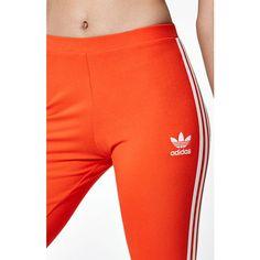 adidas London 3-Stripes Leggings ($35) ❤ liked on Polyvore featuring pants, leggings, stripe pants, legging pants, orange leggings, adidas jersey and jersey leggings