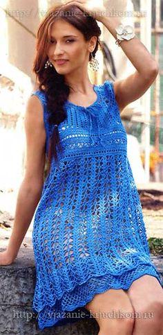 Ажурное платье-сарафан со схемами