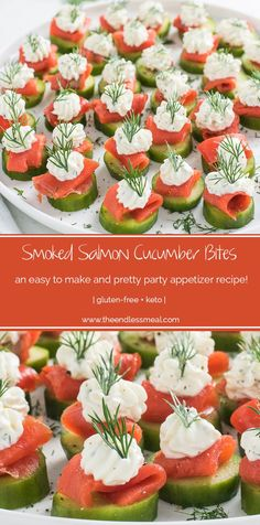 SAVE FOR LATER! These little cucumber and smoked salmon appetizer bites are as delicious as they are pretty. They make a perfect light start to a dinner and are a hit at any party. And don't worry assembling them is much easier (and faster) than it looks. Cucumber Appetizers, Smoked Salmon Appetizer, Cucumber Bites, Healthy Appetizers, Appetizers For Party, Appetizer Recipes, Healthy Recipes, Cucumber Rolls, Cheese Appetizers