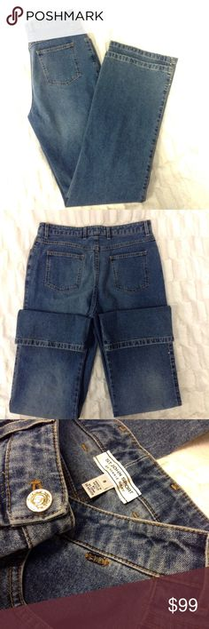 ST. JOHN JEANS P77 Blue washed jeans. Straight leg with signature gold button and they have a gorgeous elegant orange rhinestone subtly down both sides. Most intact (I think 3 are missing)  98% cotton. Has an additional safety button on the inside. Inseam 33inches. 10inches from waist down. No spots, tears, or fraying! Pre-loved. St. John Jeans Straight Leg