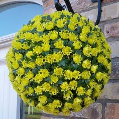Single artificial yellow rose topiary ball - The Artificial Flowers Company - Modern Design Artificial Hanging Baskets, Artificial Topiary, Artificial Flower Arrangements, Artificial Flowers, Faux Flowers, Silk Flowers, Topiary Plants, Purple Roses, Pansies