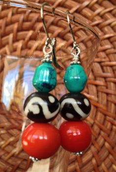 African bead earrings african bead jewelry by ThriftyUpenyu, $16.00