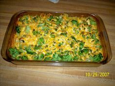 Too Easy Cheesy Chicken, Broccoli and Rice Casserole. Maybe shred the chicken?