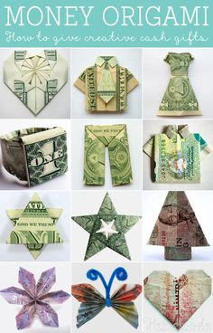 Money origami tutorials. How to give creative cash gifts at weddings, birthdays and the holiday season.!