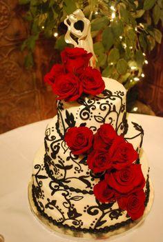 Black, White, and Red wedding cake. #weddingcake