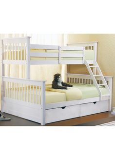 Joseph Sonya Three Sleeper Wooden Bunk Bed-White + Under Storage Drawers