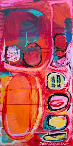 """""""Sounds Interesting"""" (2011) by Claire Desjardins. 60""""x30"""". Lacquer based paints on canvas."""