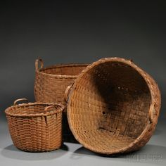 Woven Splint Baskets, America, late 19th century ...~♥~