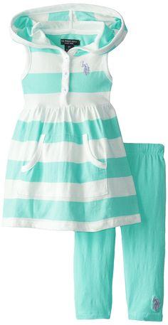 U.S. POLO ASSN. Little Girls' Baby Doll Hoodie and Capri Leggings, Frozen Aqua, 6