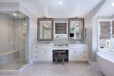 Heated floors throughout this master bath make it easier to wake up on cold winter mornings!