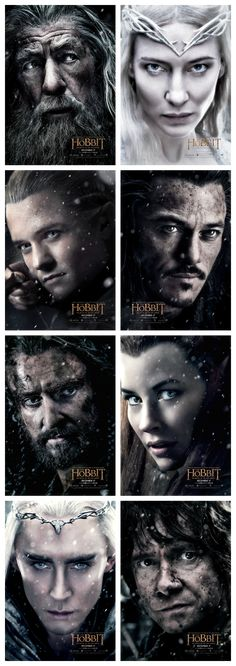 The complete set of The Hobbit: the Battle of the Five Armies character posters. ^_^