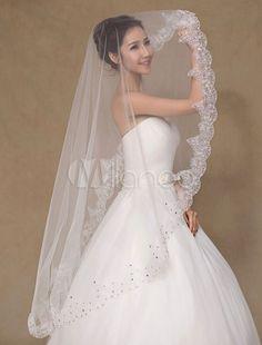 Véu de casamento nupcial tule renda marfim semi Sheer-No.3