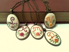 Initial  necklace hand embroidery personalized, monogrammed gift for her