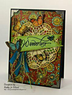 Olde Curiosity Shoppe Wanderlust butterfly card by Kathy Jo #graphic45 #cards