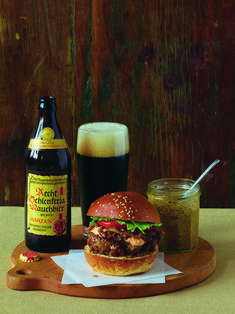 Grilled Burgers with Bacon-Onion Relish and Smoky Aïoli - This grilled burger's smokiness comes from the addition of smoked paprika, then the grilling process, which creates caramelized charred bits on the patty. Burger Buns, Burgers, Aged Cheese, Aioli Recipe, Relish Recipes, Smoky Bacon, Wheat Beer, Onion Relish, Smoked Paprika