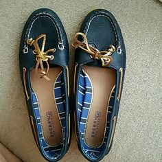 Sperry Top-Sider Navy and Gold shoes Like brand new. Leather. Sperry Top-Sider Shoes Flats & Loafers