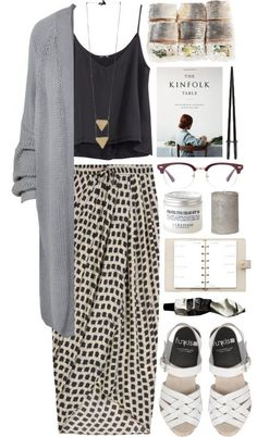 skirt with a slouchy tank and cardigan outfit