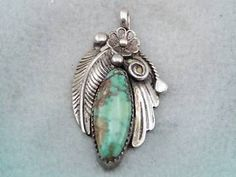Vintage Handmade Southwest Indian Navajo Sterling Turquoise Pendant GORGEOUS