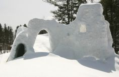 an elaborate snow fort