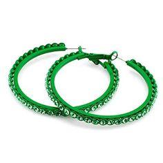 "Fashion Hoop Earrings; Snap post closure; Approx 2"" diameter; Metal hoop Green crystal stone;: Jewelry: Amazon.com"