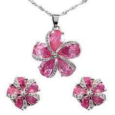 Pink Sapphire Gemstones Fashion Jewelry Set Masterpieces by selecting various materials and gemstones with different settings in making the most trendy designs for Jewellery lovers. Item Size: 25mm x 25mm , 13mm x 13mm x 2 Base Metal: Brass Plating: White Gold Plated Gemstone Type: Cubic Zirconia Gemstone Size: 6mm x 5mm x 10 Stone Cut: Round Weight: 15 gram Condition: New with tags Note: This item has original tags and shows no visible signs of wear. Jewelry Necklaces