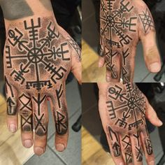 Norse hand tattoo Norse hand tattoo Vegvísir, Web of Wyrd and Icelandic Runes…Painfull as f*ck but proud to made it through ☺ Viking Rune Tattoo, Viking Tattoo Sleeve, Viking Tattoo Design, Viking Tattoos, Sleeve Tattoos, Side Hand Tattoos, Hand Tattoos For Guys, Finger Tattoos, Small Tattoos