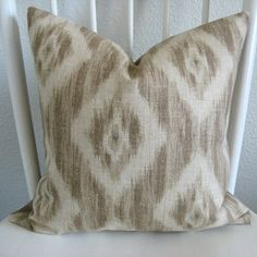 Decorative pillow cover - Throw pillow - Ikat pillow - 20x20 - Natural - Beige - Taupe - Ikat - Same front and back. $45.00, via Etsy.