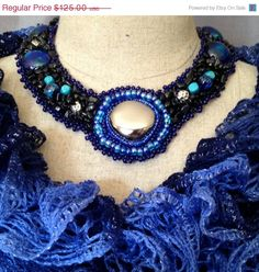 ON SALE Bead Embroidered Collar Necklace Silver by bjswearableart, $75.00