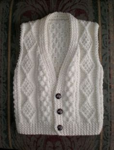 SALE Sweater VEST handknit pure wool Irish by raincoaststudio, $35.00