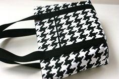 Black White Houndstooth Small Handbag/Purse by nangatesdesigns