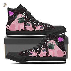 Cute Pug - Womens High Top Sneakers In Black Womens High Top - Black - Pink / US6 EU36 - Vaisb sneakers for women (*Amazon Partner-Link)