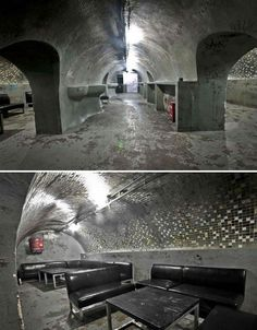 Bomb Shelter Bar- BAR: A bomb shelter-cum-night club for the underground cool kids. Underground Caves, Underground Bunker, Bunker Home, La Croix Valmer, Nightclub Design, Agriculture, Bomb Shelter, Unique Buildings, Secret Rooms