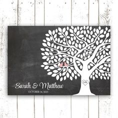 Guest Book Tree - Wedding Guestbook Alternative with 175 Leaves - Guest Book Poster on Chalkboard Background on Etsy, $64.00