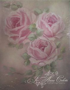 Pink Roses Canvas Print-vintage rose paintings, rose canvas prints, JoAnne Coletti, antique hand painted roses, shabby chic
