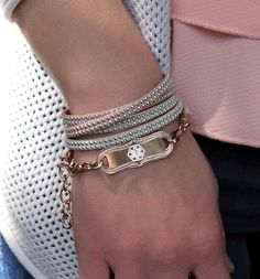 Parker Medical ID Bracelet - Dual-strand, wrap-style, tan and beige suede medical ID bracelet with silver accents and a custom engravable Rose Gold Tone La Petite Medical ID Tag. This wrap comes with an adjustable chain so you can wear it just the way you like! (From $49.95) | Lauren's Hope