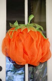 Party Ideas by Mardi Gras Outlet: DIY: Pumpkin Door Decoration with Deco Mesh